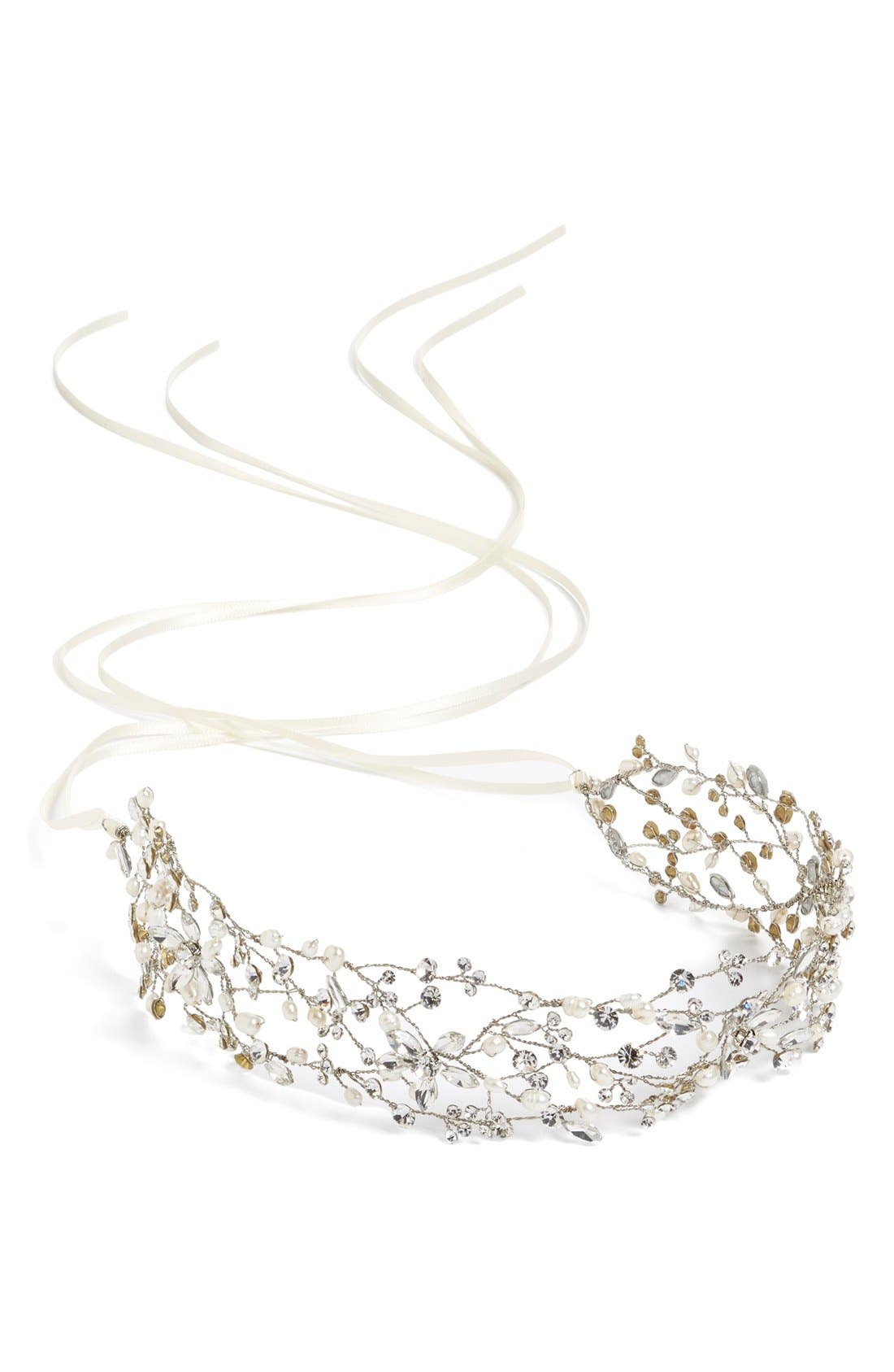 Alternate Image 2  - Brides & Hairpins 'Thalia' Pearl & Jeweled Head Band