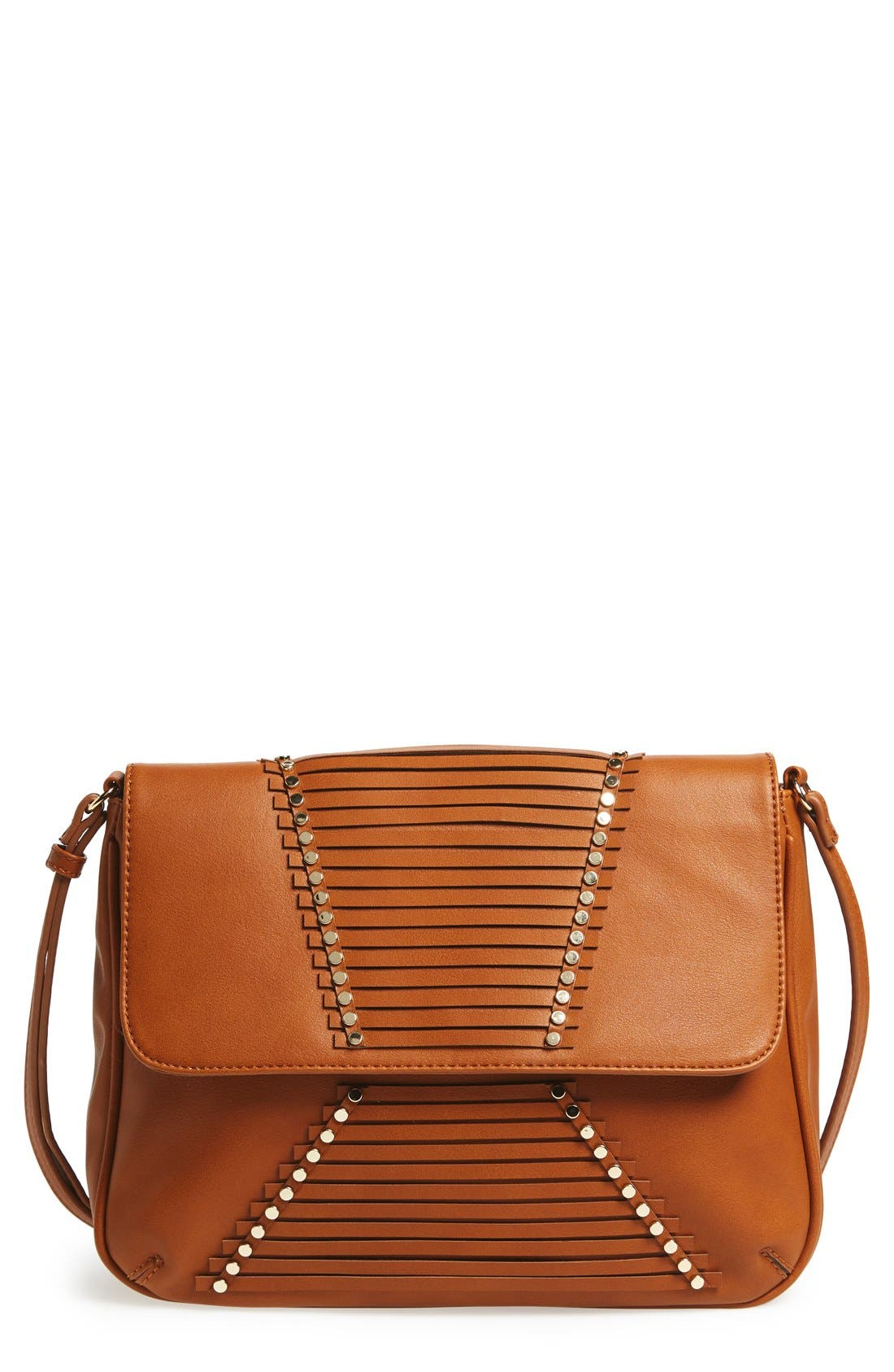 'Larissa' Studded Flap Faux Leather Crossbody Bag,                             Main thumbnail 1, color,                             Cognac