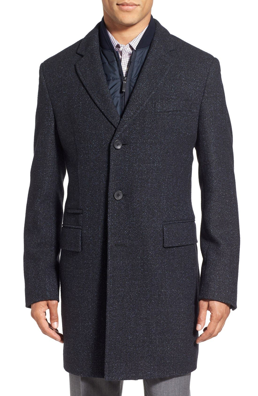 Main Image - BOSS 'Nadim' Wool Blend Overcoat