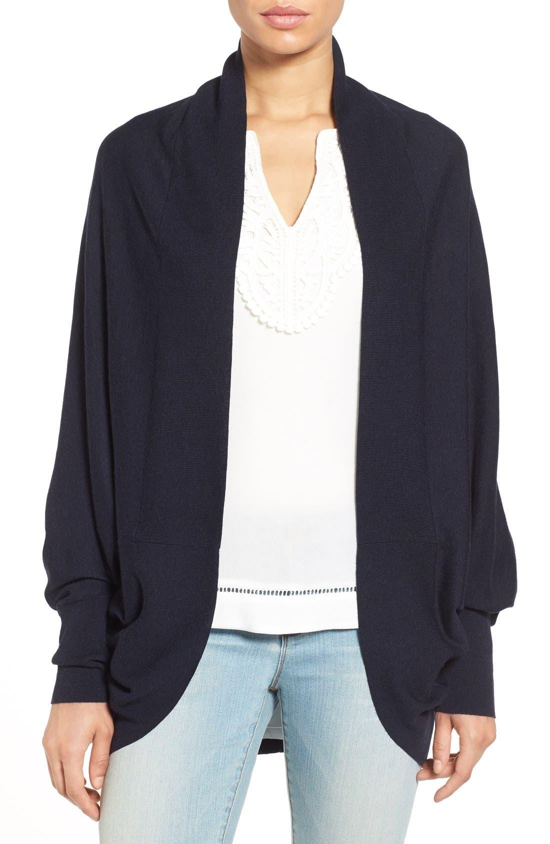 Knit Cocoon Cardigan,                         Main,                         color, Navy Dark Heather