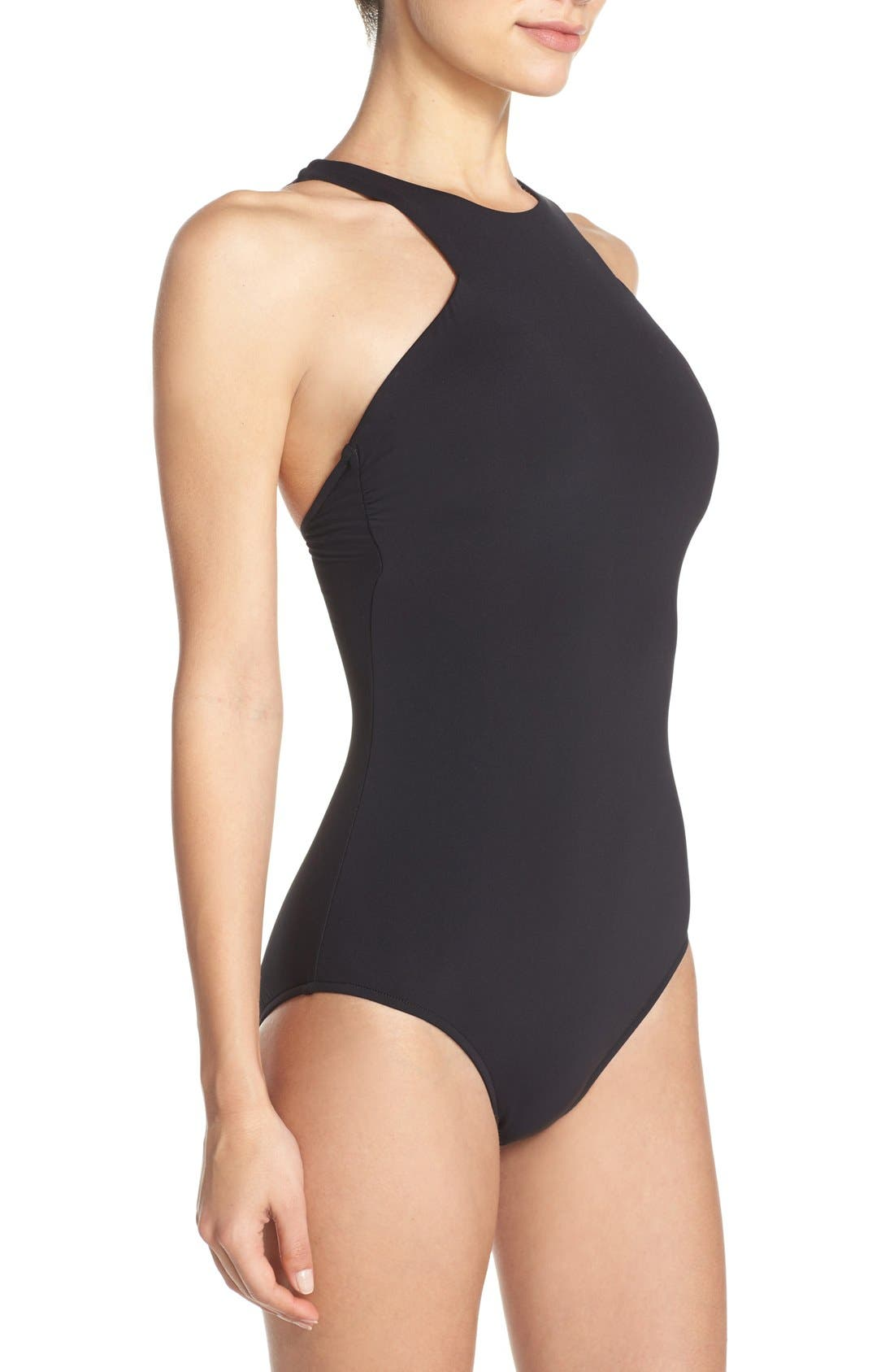 High Neck One-Piece Swimsuit,                             Alternate thumbnail 3, color,                             Black