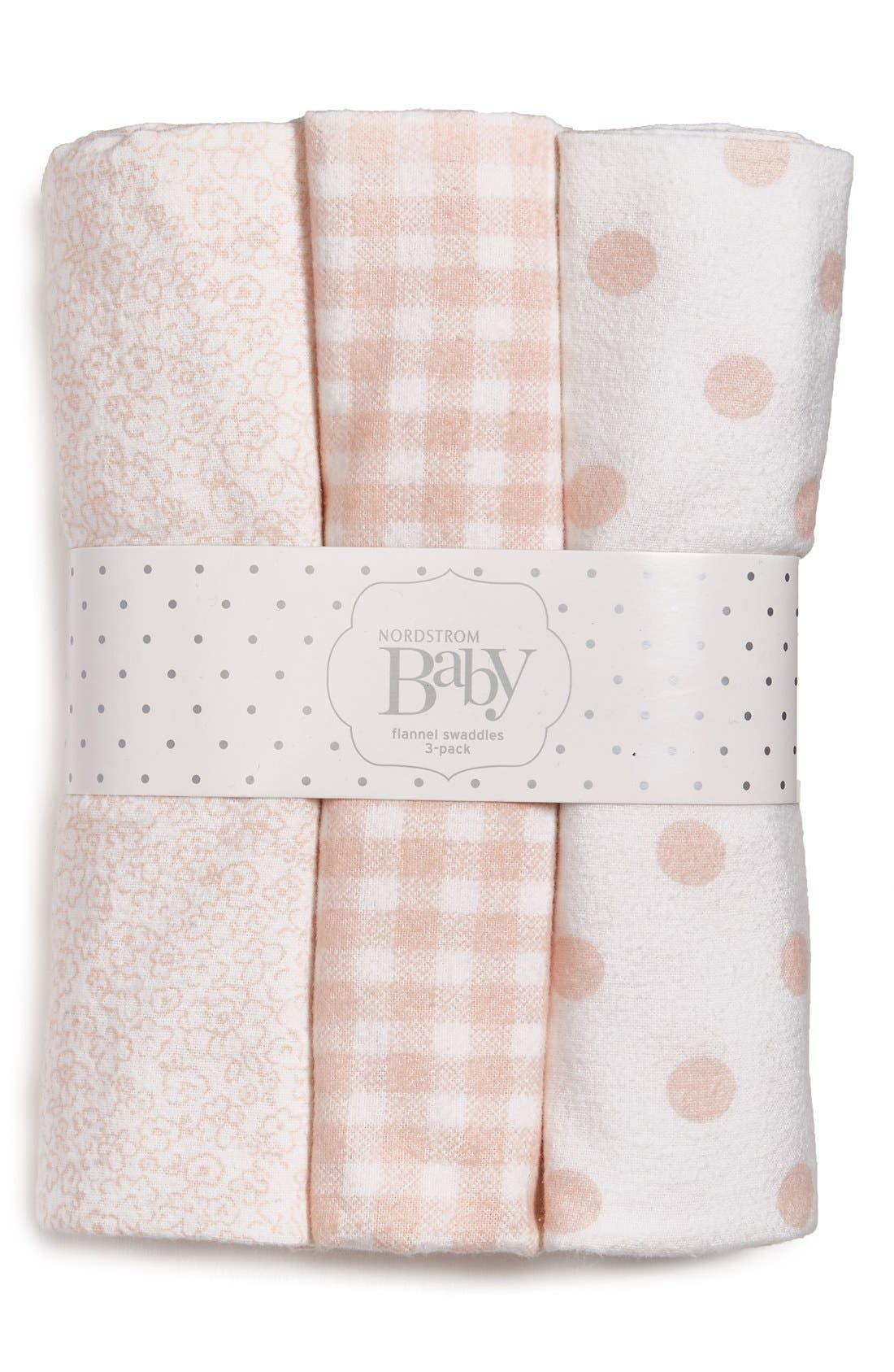 Alternate Image 1 Selected - Nordstrom Baby Cotton Flannel Swaddles (3-Pack)
