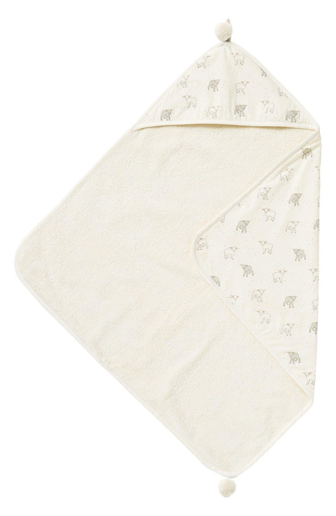 Little Lamb Print Hooded Towel,                         Main,                         color, Cream