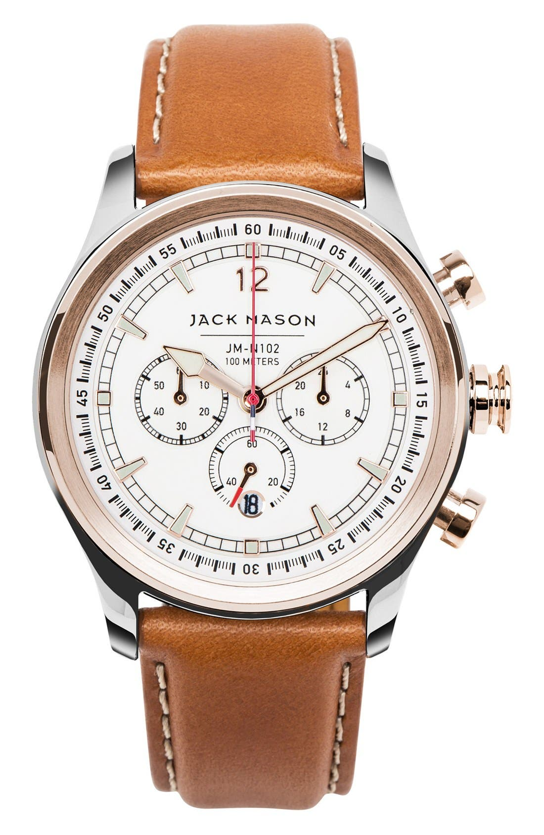 Nautical Chronograph Leather Strap Watch, 42mm,                         Main,                         color, Rose Gold/ White/ Tan