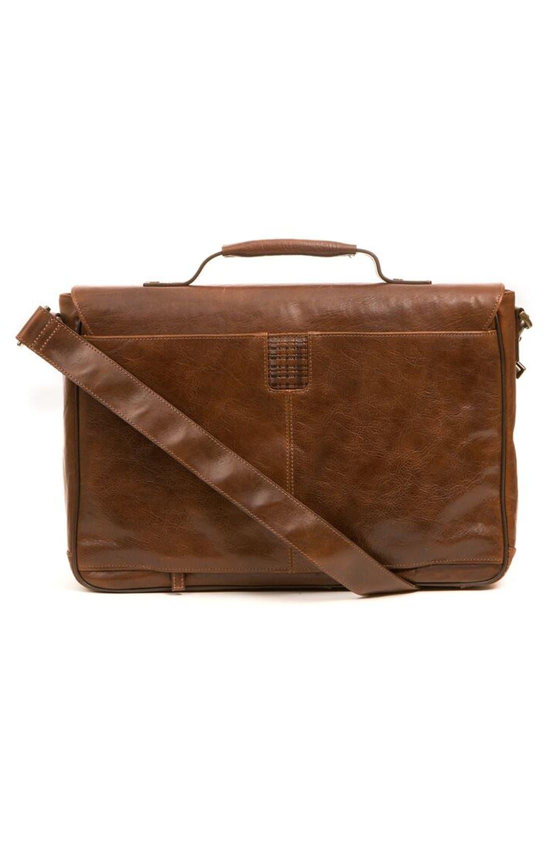 'Becker' Leather Messenger Bag,                             Alternate thumbnail 2, color,                             Whiskey W/ Khaki