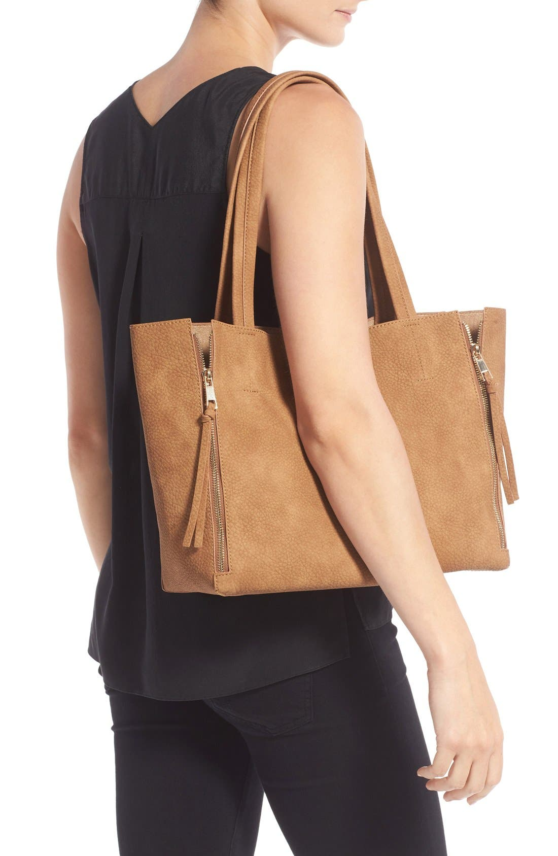 Alternate Image 2  - BP. Zip Detail Faux Leather Tote