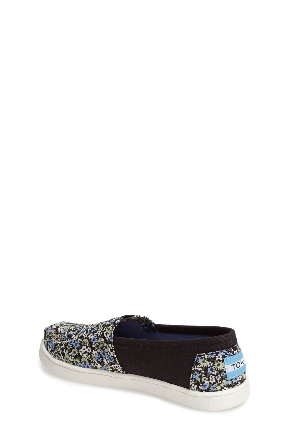Alternate Image 2  - TOMS 'Classic - Black Canvas Ditsy Floral' Slip-On (Toddler, Little Kid & Big Kid)