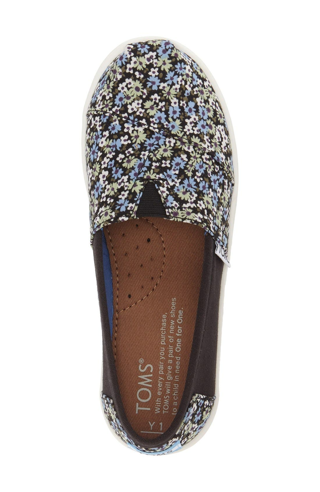 Alternate Image 3  - TOMS 'Classic - Black Canvas Ditsy Floral' Slip-On (Toddler, Little Kid & Big Kid)