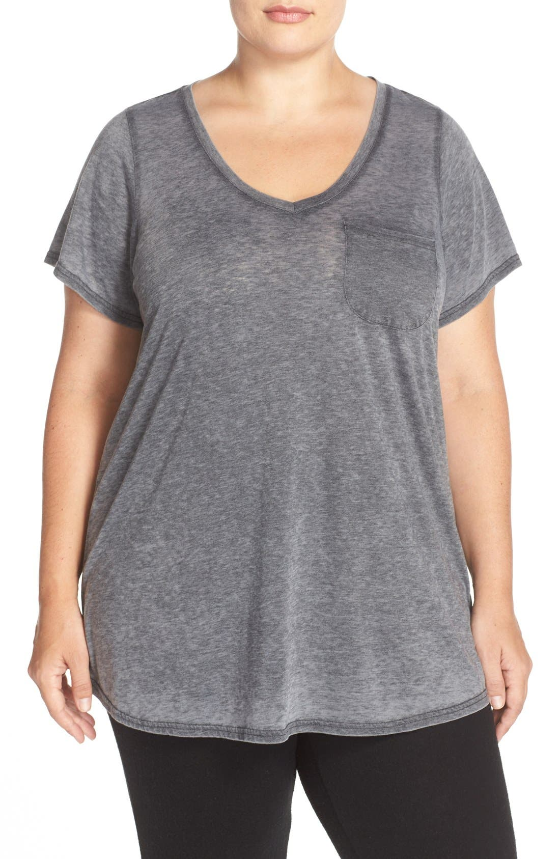 'Gotta Have It' V-Neck Tee,                             Main thumbnail 1, color,                             Charcoal