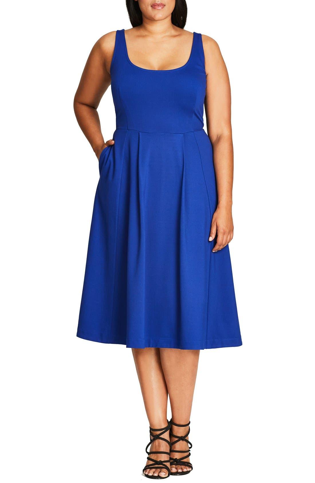 Classic Longline Scoop Neck Midi Dress,                         Main,                         color, French Blue
