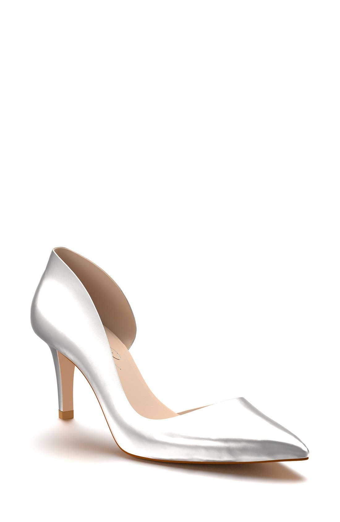 Half d'Orsay Pump,                         Main,                         color, Silver Leather