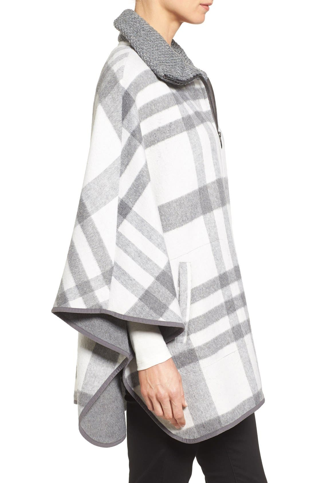 Zip Front Plaid Cape,                             Alternate thumbnail 3, color,                             Ivory/ Grey