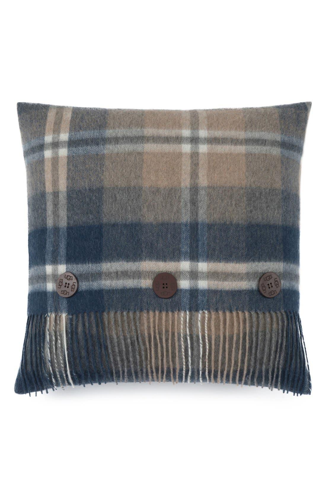 'Glacier Plaid' Wool Pillow,                         Main,                         color, Sugar Pine/ Multi