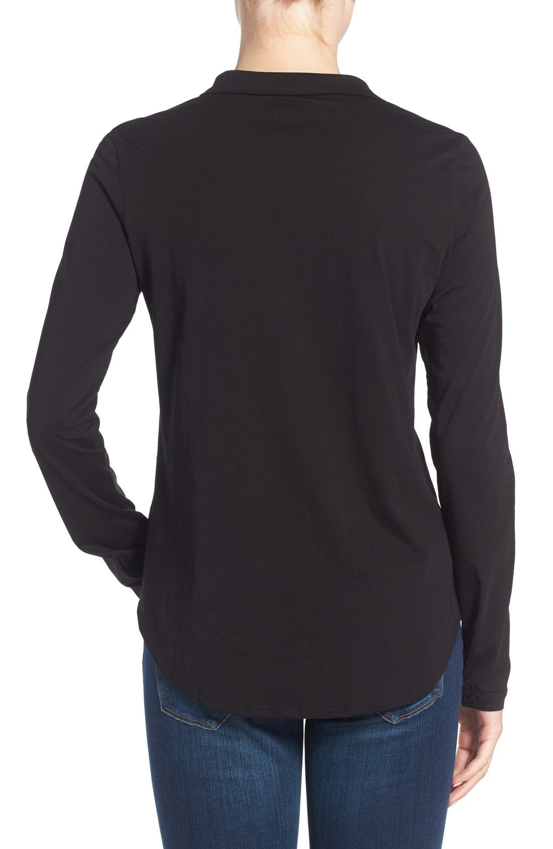 Alternate Image 2  - Eileen Fisher Organic Cotton Jersey Classic Collar Shirt