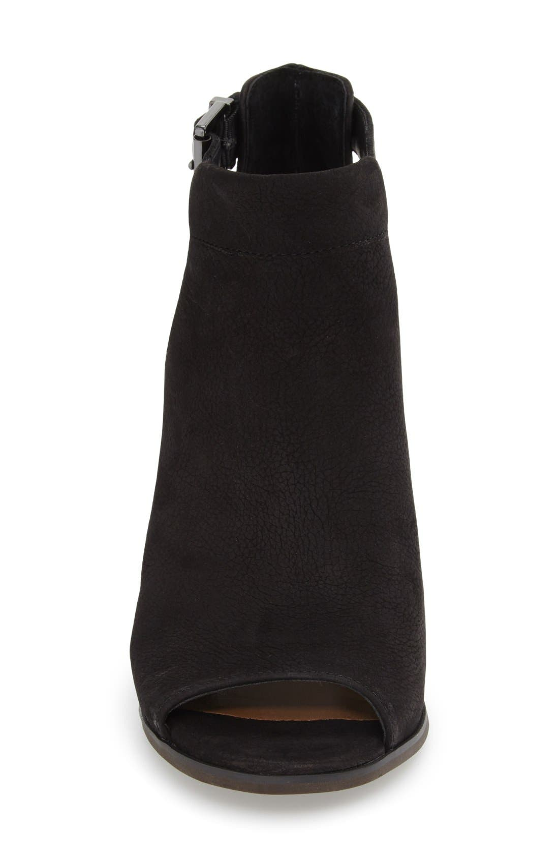 'Cordeliah' Split Shaft Peep Toe Bootie,                             Alternate thumbnail 3, color,                             Black Leather
