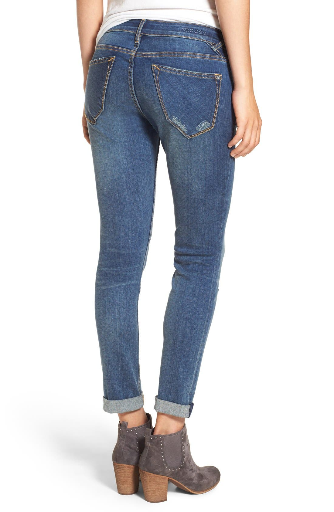 Alternate Image 2  - Vigoss 'Thompson' Distressed Skinny Jeans (Neptune)
