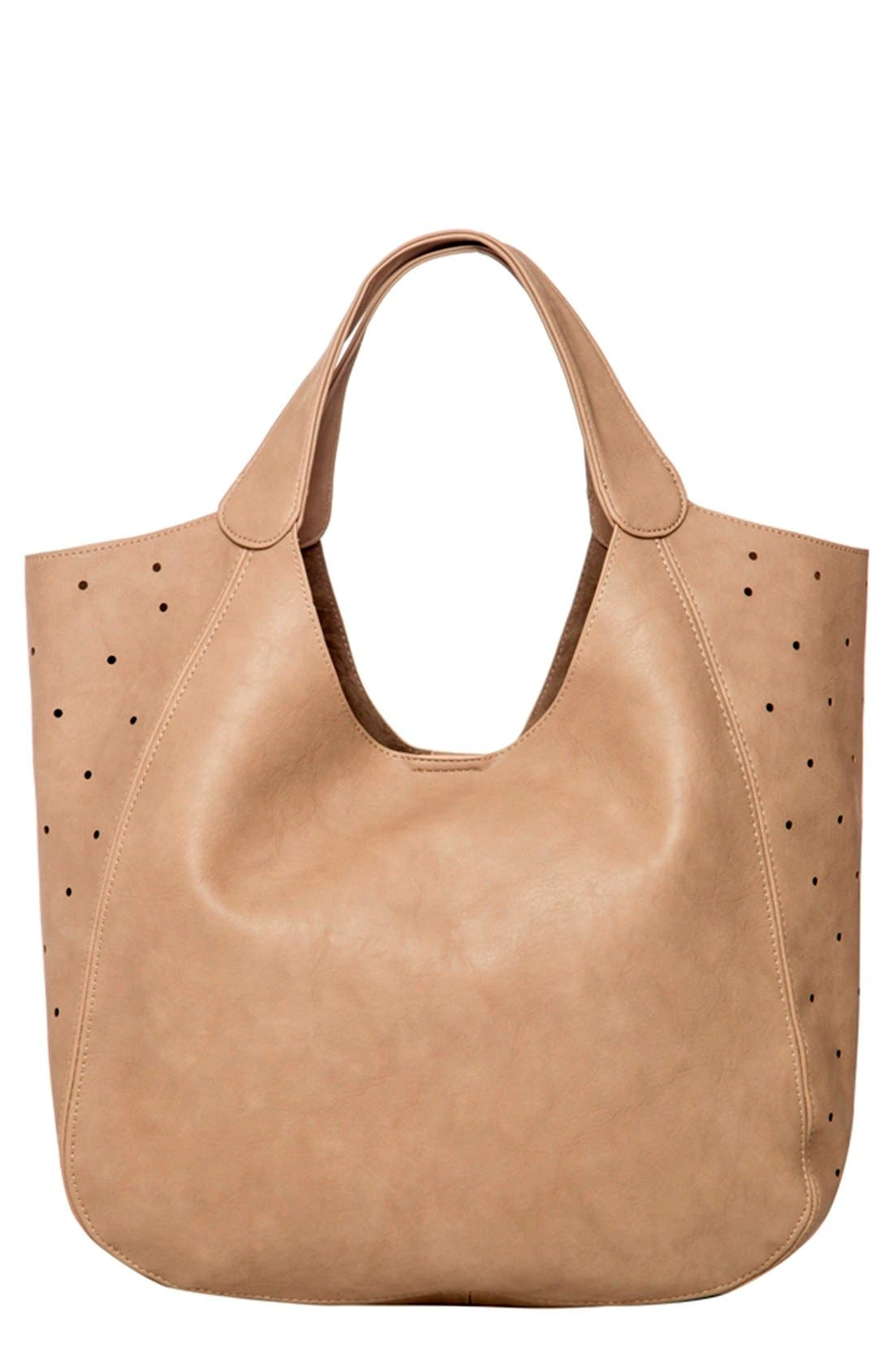 Masterpiece Perforated Vegan Leather Tote,                             Main thumbnail 1, color,                             Stone Grey