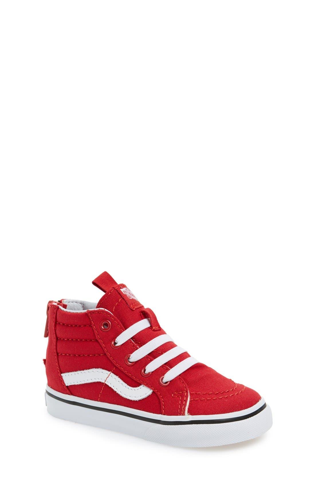'Sk8-Hi' Zip Sneaker,                             Main thumbnail 1, color,                             Racing Red/True White
