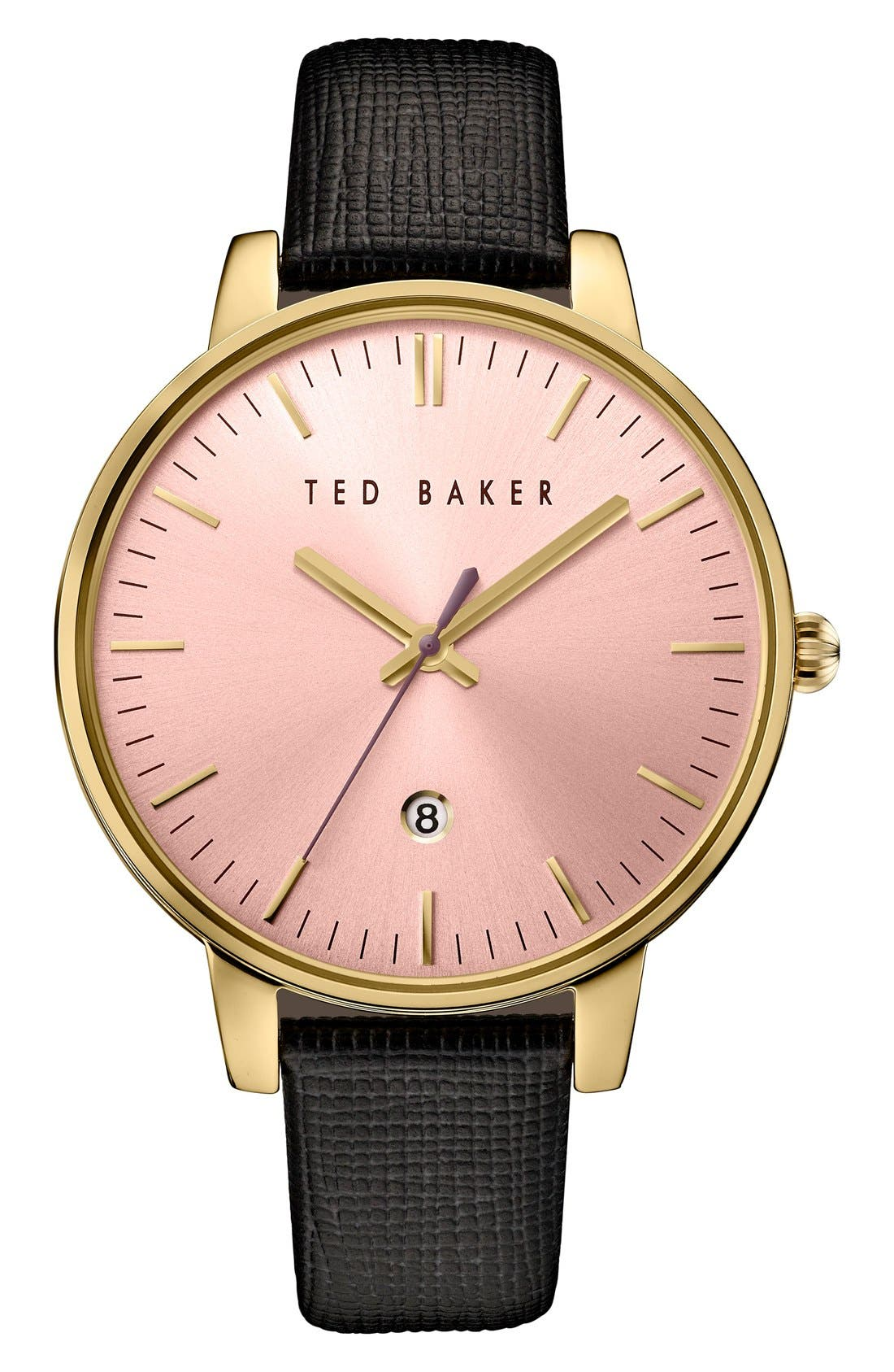 Leather Strap Watch, 40mm,                             Main thumbnail 1, color,                             Black/ Pink