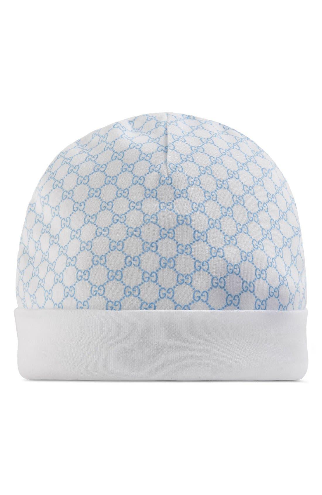 Logo Knit Hat,                         Main,                         color, Ivory/ Sky Blue
