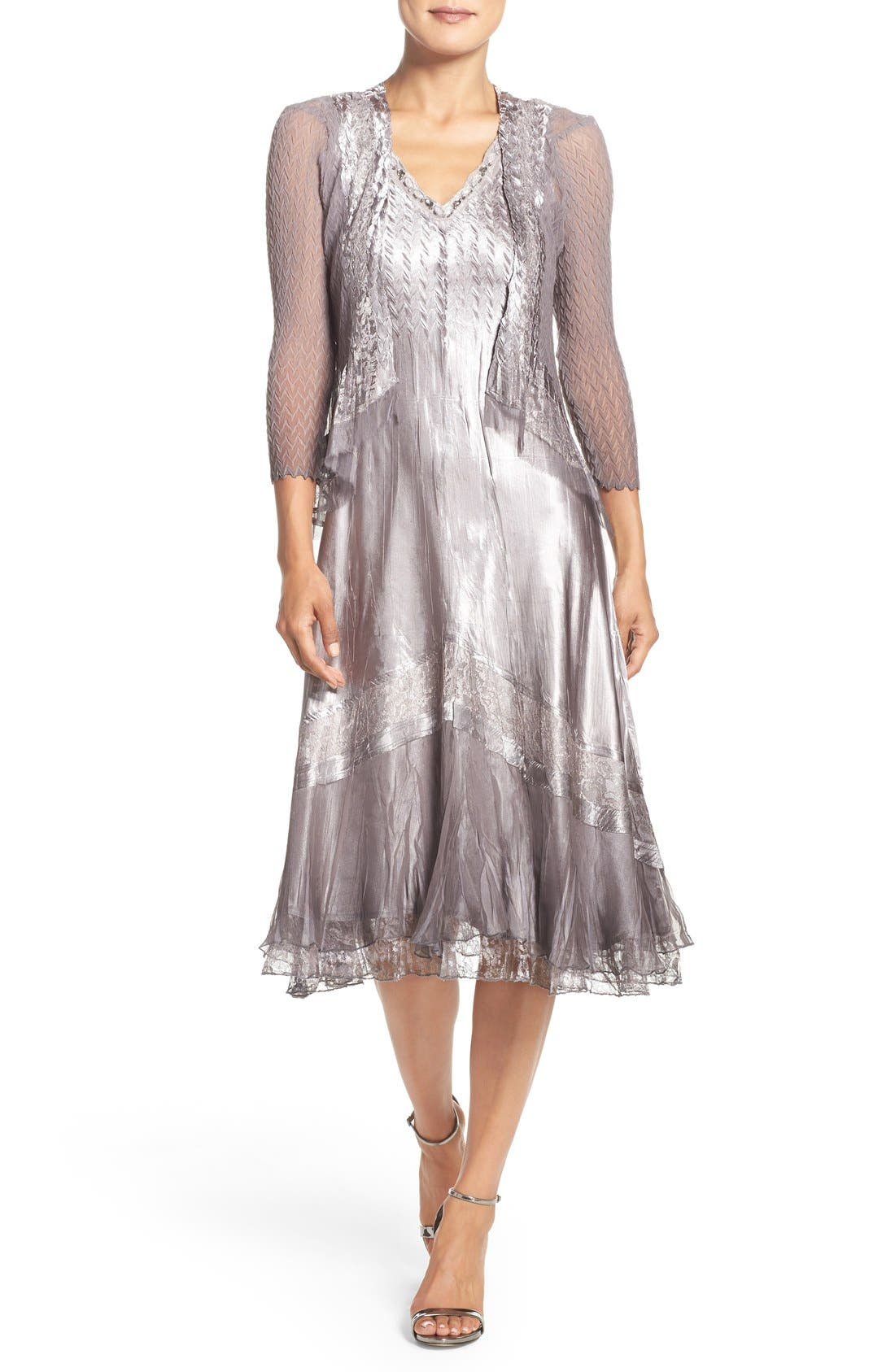 Ombré Charmeuse A-Line Dress & Chiffon Jacket,                             Main thumbnail 1, color,                             Oyster Smoke Ombre