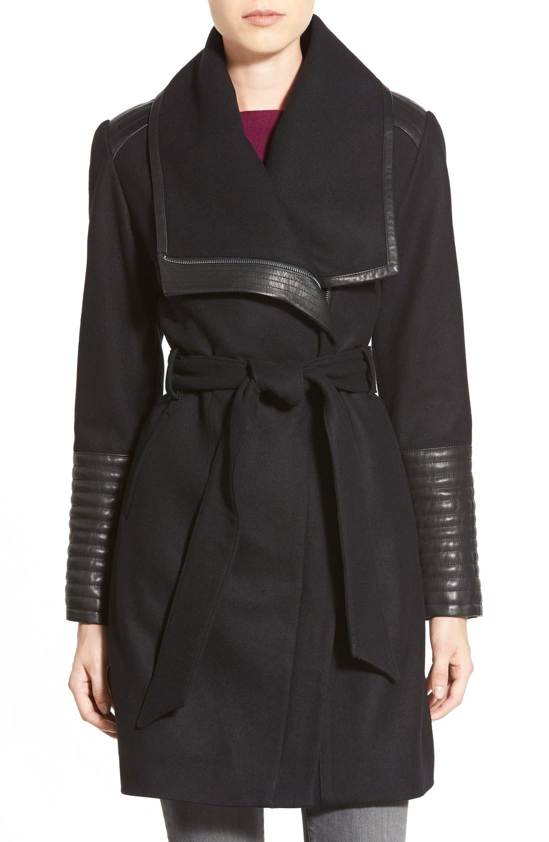Main Image - Belle Badgley Mischka 'Lorian' Faux Leather Trim Belted Asymmetrical Wool Blend Coat