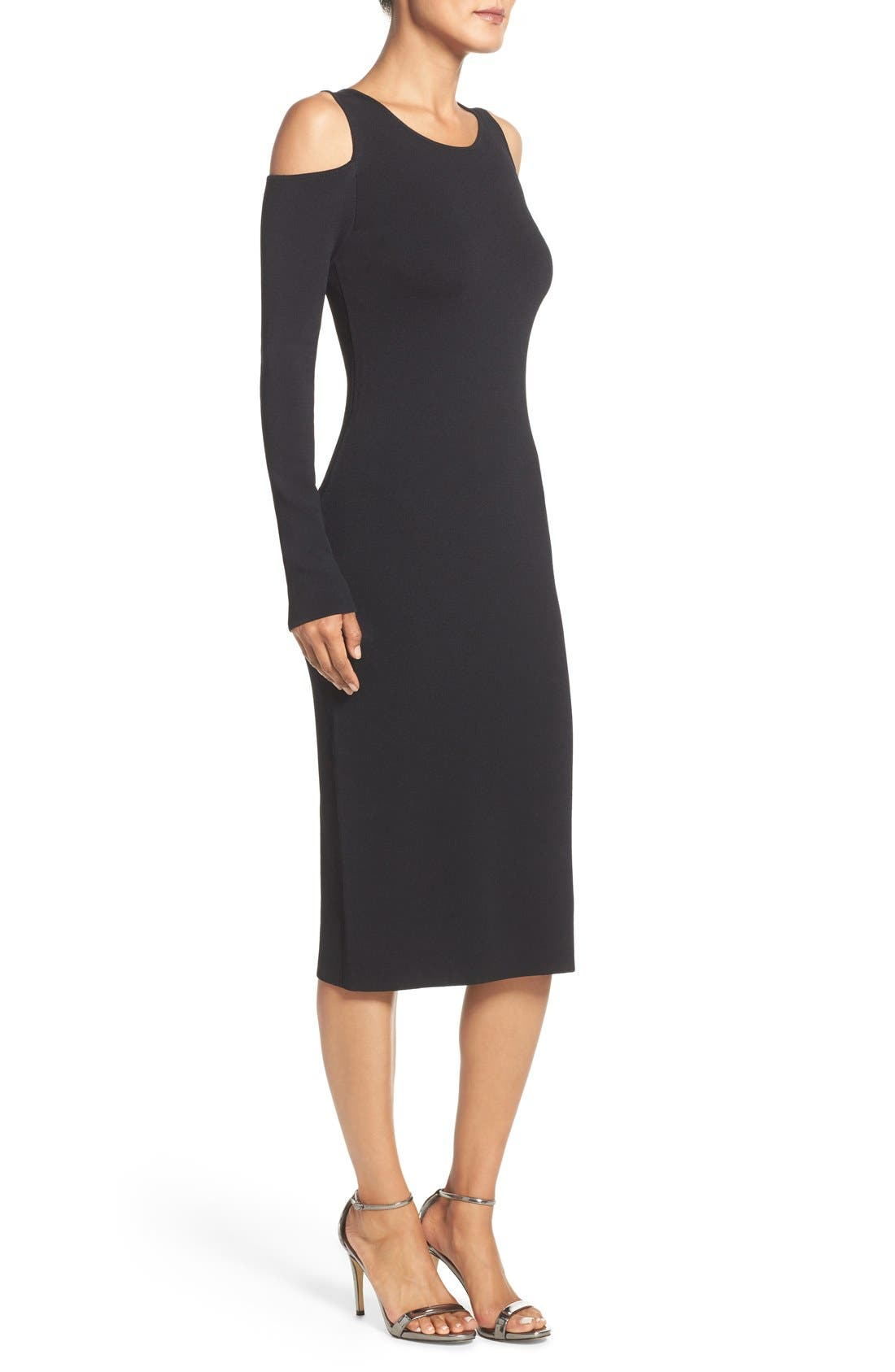 Alternate Image 4  - Eliza J Cold Shoulder Knit Body-Con Dress (Regular & Petite)
