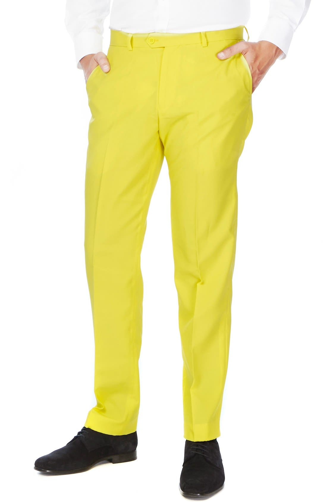 'Yellow Fellow' Trim Fit Two-Piece Suit with Tie,                             Alternate thumbnail 3, color,                             Yellow