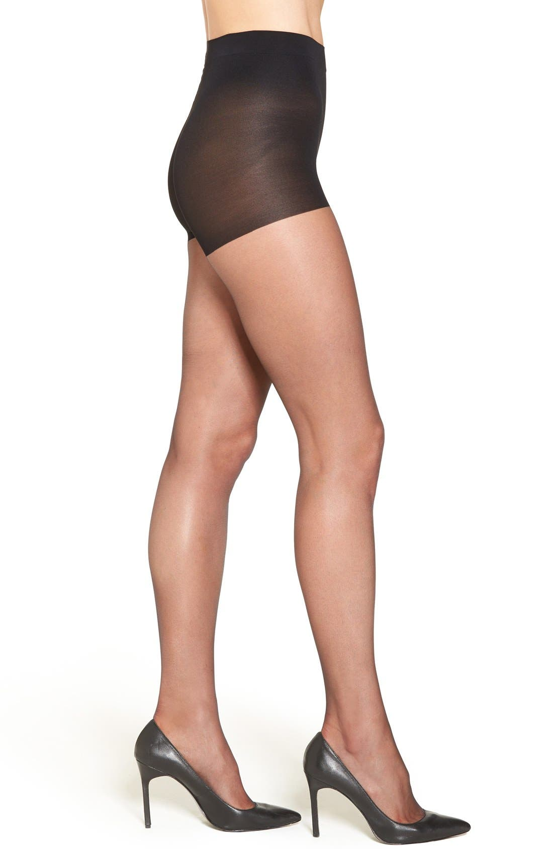 'Ultra Sheer' Control Top Pantyhose,                             Main thumbnail 1, color,                             Black