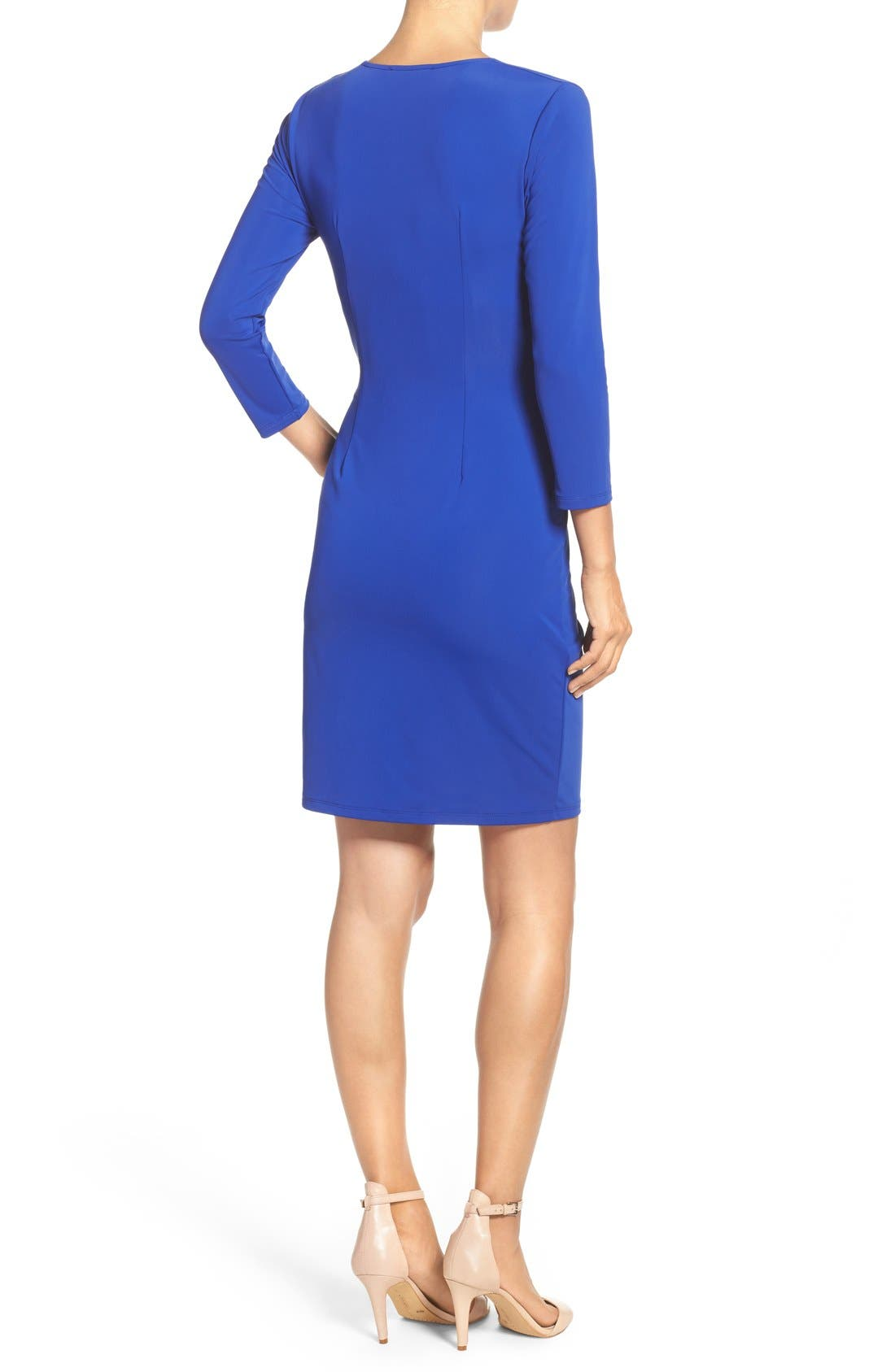 Alternate Image 2  - Adrianna Papell Stretch Faux Wrap Dress (Regular & Petite)