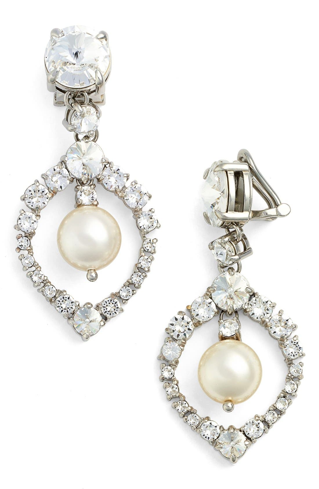 'Classic' Crystal & Faux Pearl Drop Earrings, Cream/ Cristal