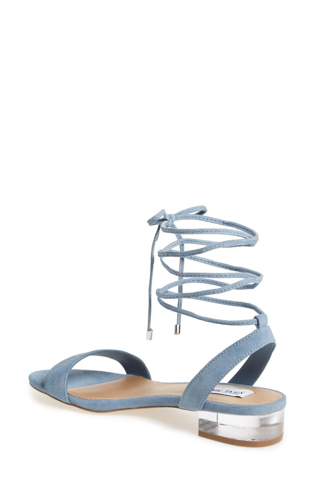 'Carolyn' Lace-Up Sandal,                             Alternate thumbnail 2, color,                             Blue Suede