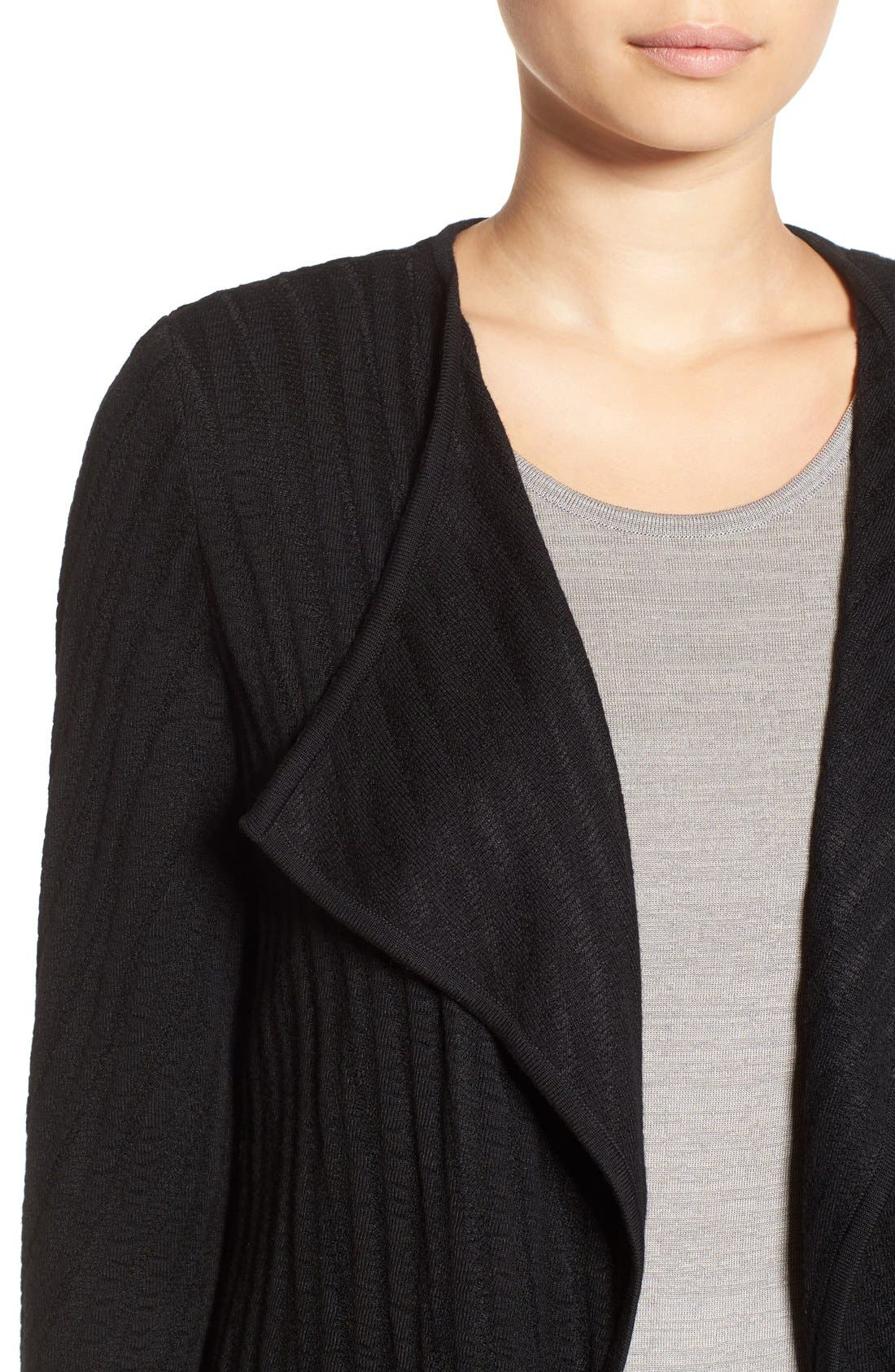 Drape Front Long Sweater Jacket,                             Alternate thumbnail 4, color,                             Black