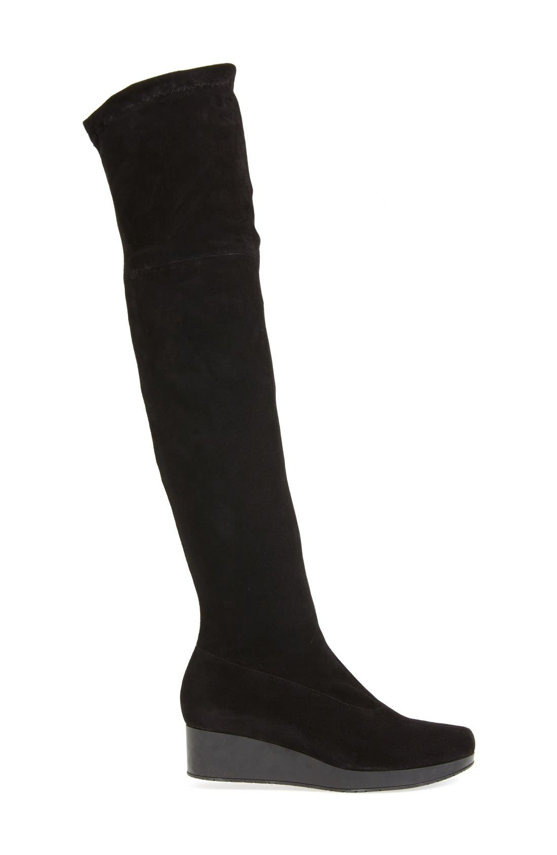Wedge Over the Knee Boot,                             Alternate thumbnail 4, color,                             Black Suede