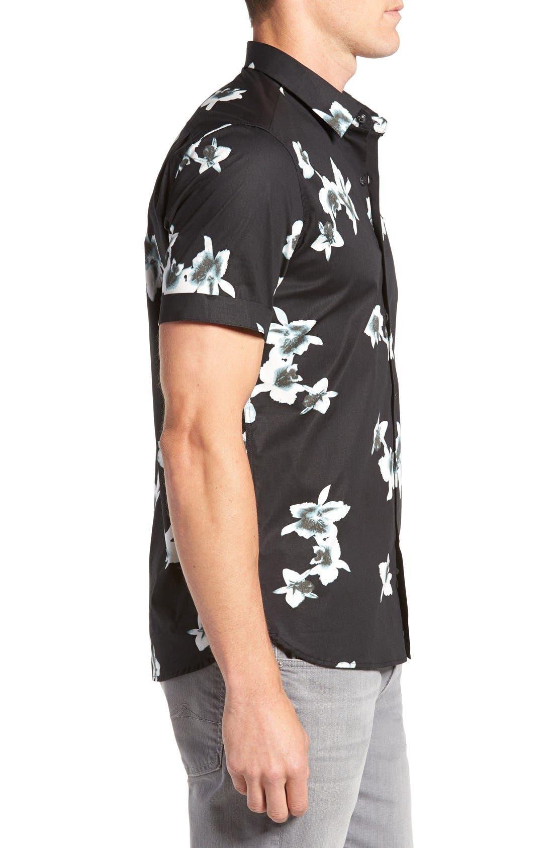 'My Wish' Short Sleeve Floral Print Sport Shirt,                             Alternate thumbnail 3, color,                             Black