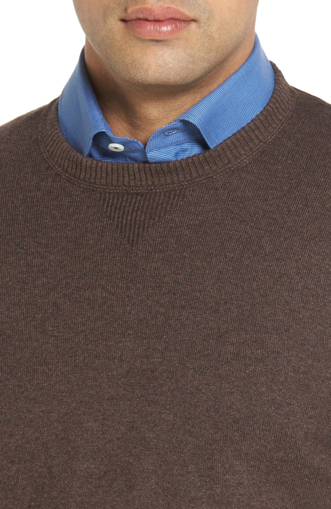 'Jersey Sport' Cotton Blend Crewneck Sweater,                             Alternate thumbnail 4, color,                             Coffee