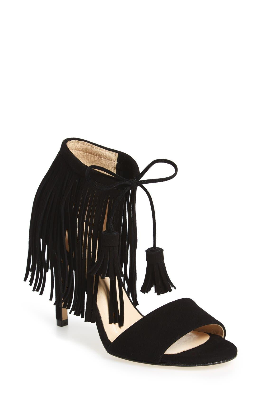 'Mylah' Sandal,                             Main thumbnail 1, color,                             Black Suede