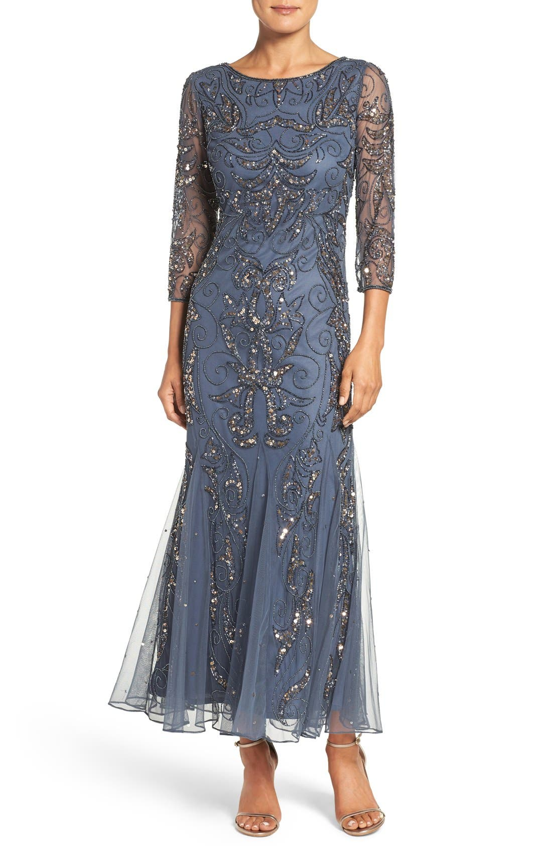 Pisarro Nights Embellished Mesh Gown (Regular & Petite ...