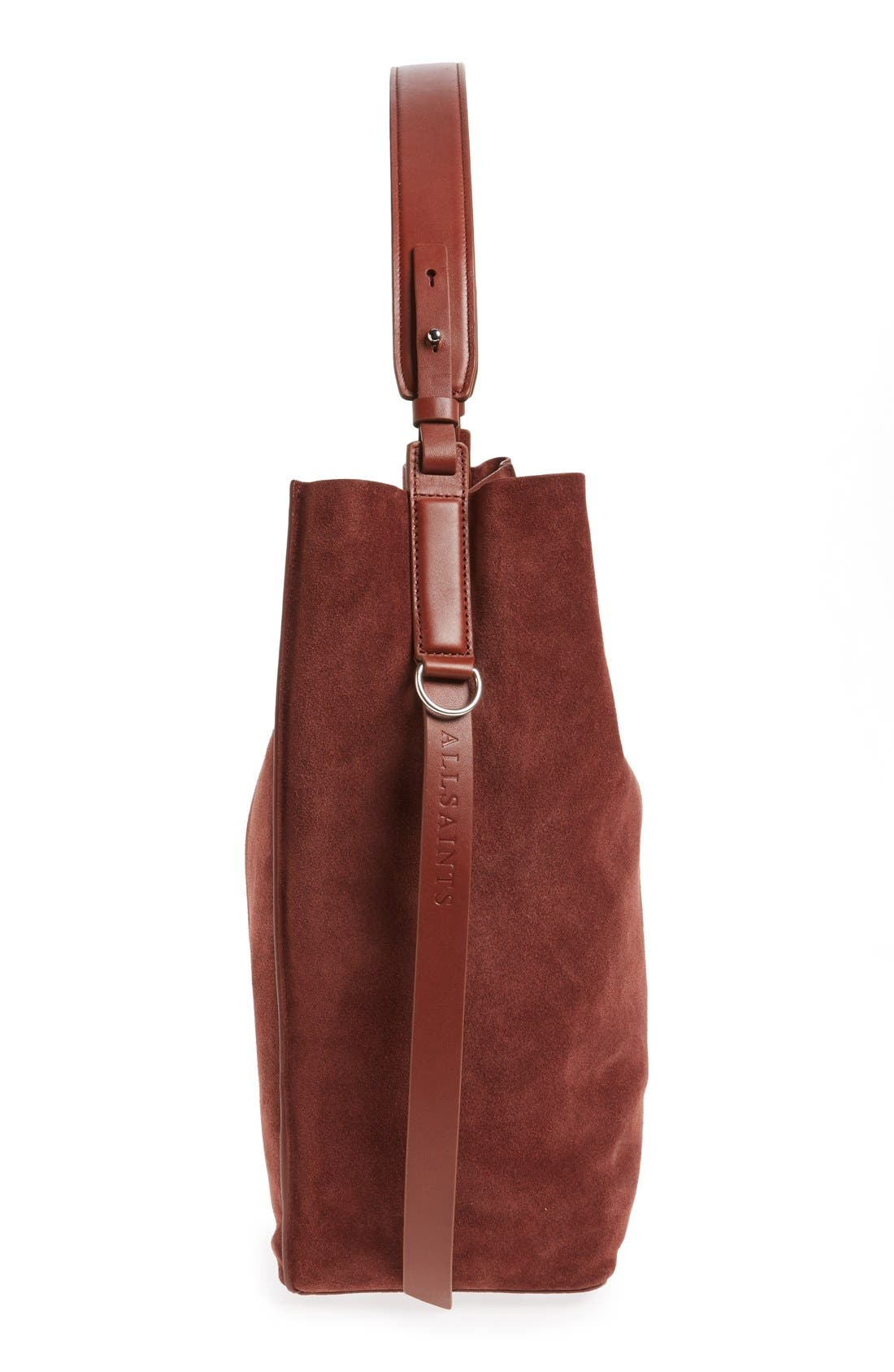 'Paradise - North/South' Suede Tote,                             Alternate thumbnail 5, color,                             Brandy/ Brick Brown