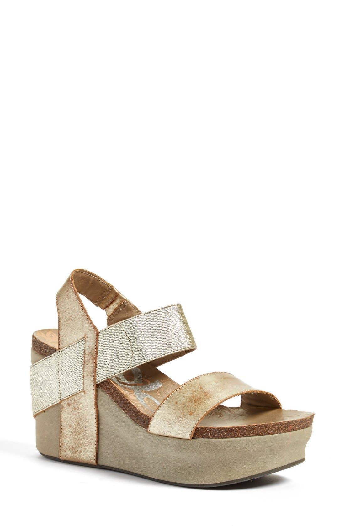 'Bushnell' Wedge Sandal, Main, color, Gold
