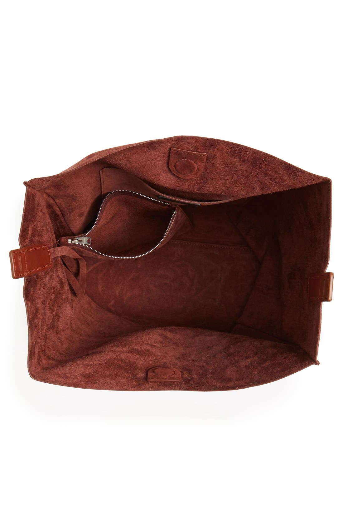 'Paradise - North/South' Suede Tote,                             Alternate thumbnail 4, color,                             Brandy/ Brick Brown