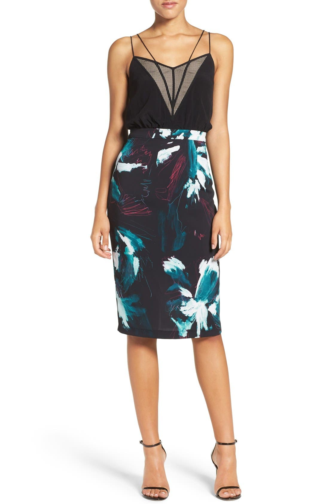 Strappy Print Dress,                             Main thumbnail 1, color,                             Black Sketch Floral Print