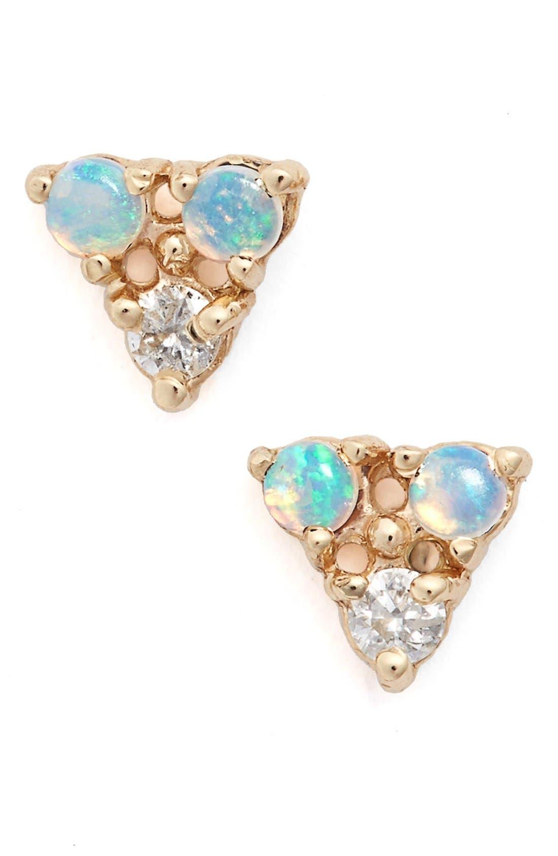 WWAKE Triangle Opal & Diamond Earrings