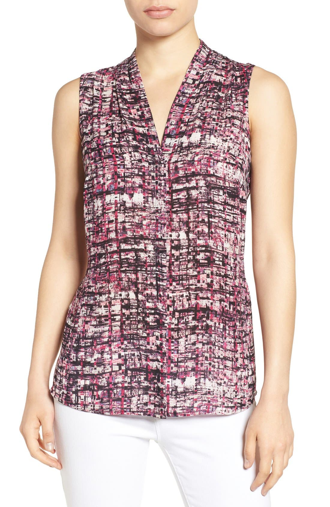Main Image - NIC+ZOE 'Painted Plaid' Print V-Neck Sleeveless Top