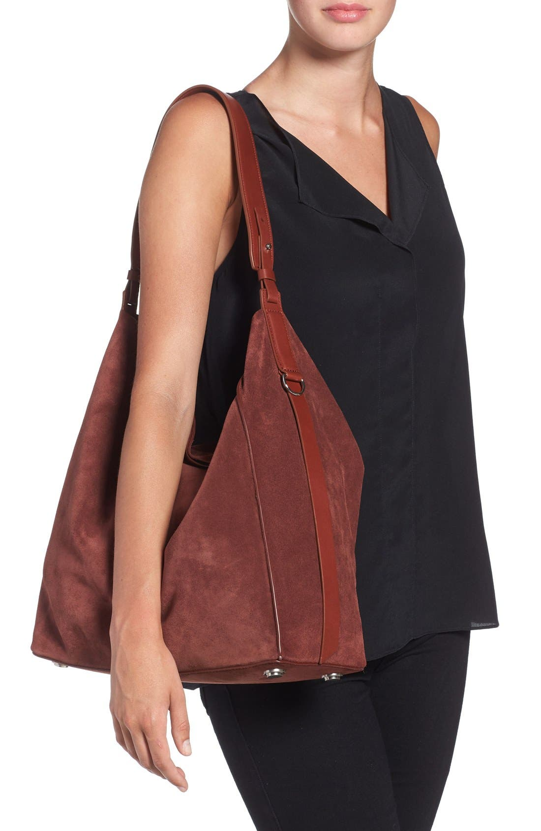 'Paradise - North/South' Suede Tote,                             Alternate thumbnail 2, color,                             Brandy/ Brick Brown