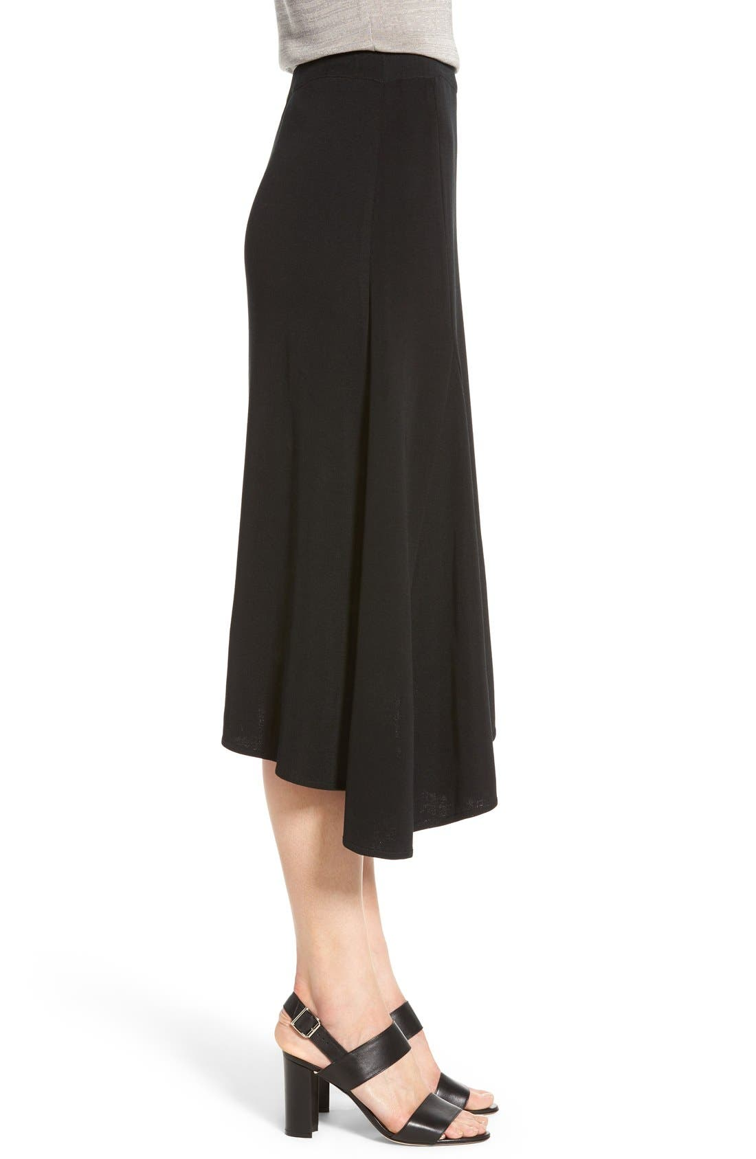 Asymmetrical A-Line Knit Skirt,                             Alternate thumbnail 3, color,                             Black