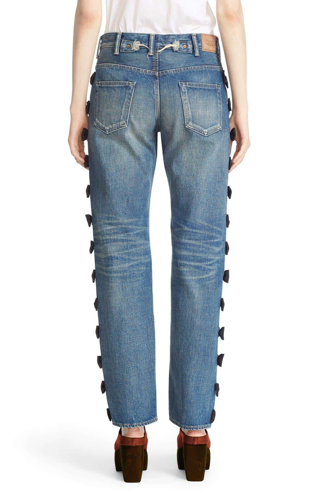 Alternate Image 2  - Tu es mon TRÉSOR Grosgrain Bow Embellished Jeans