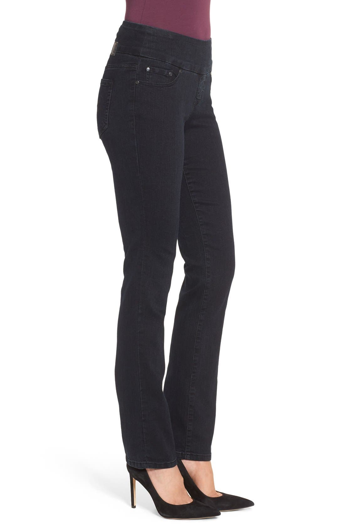 'Peri' Straight Leg Pull-On Jeans,                             Alternate thumbnail 3, color,                             Black Void