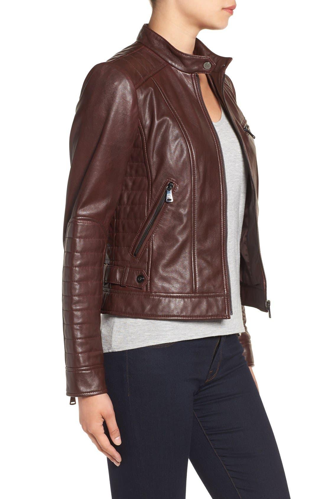 Alternate Image 4  - Bernardo Quilted Leather Moto Jacket (Regular & Petite)