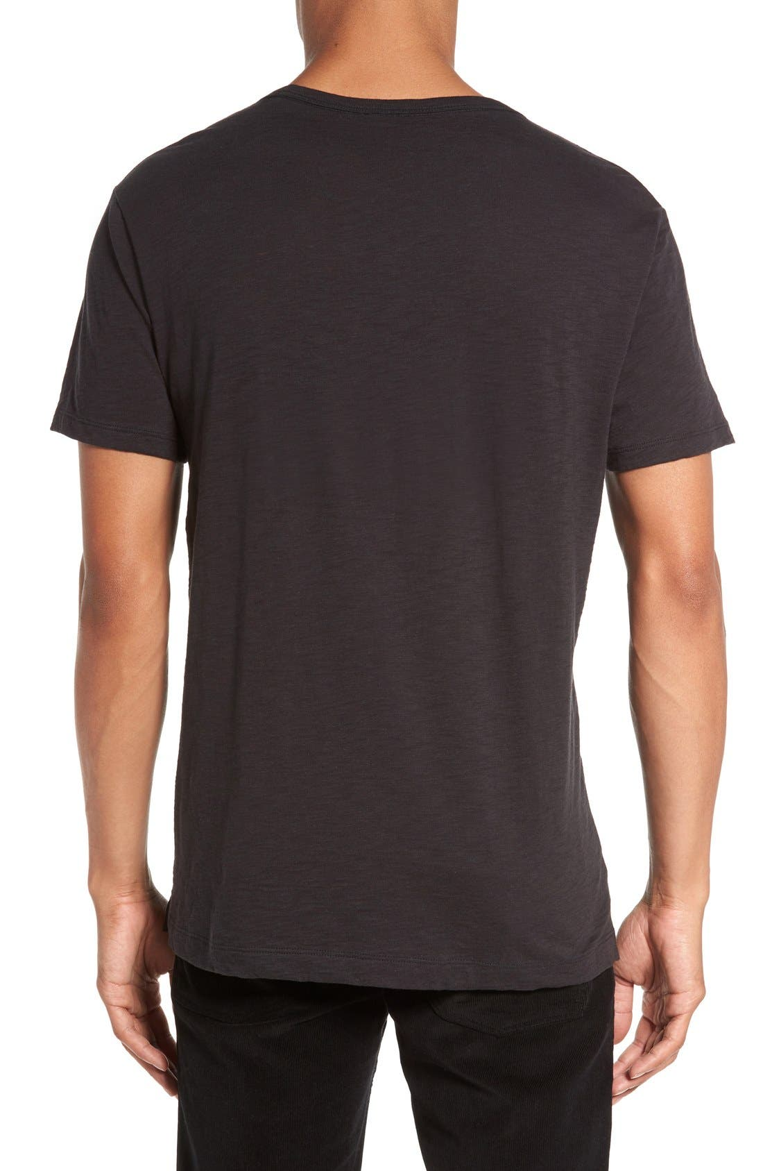 Slub V-Neck T-Shirt,                             Alternate thumbnail 2, color,                             Black